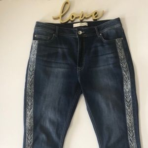 Cato embroidered front cropped jeans